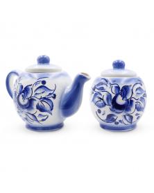 "Tee-Set ""Narzisse""  Gzhel, 2tlg. Keramik-Set"