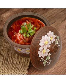 Kochtopf 2,5l mit Blumenmuster aus rotem Ton