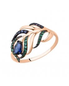 Damenring mit grünen und blauen Zirkonia