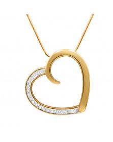 Kette mit Herzanhänger und 20 Swarovski-Kristallen in 18 Karat vergoldet LC