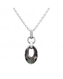 Kette mit Anhänger und Swarovski-Kristallen, Rhodiniert LC