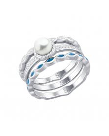 Damenring mit Perle und Emaille