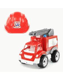 Feuerwehrauto mit Helm