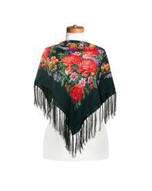 Original Pawlow-Possader Tuch aus Wolle mit Seidenfransen 120 x 120 cm