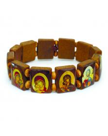 Holzarmband mit Heiligenbildern