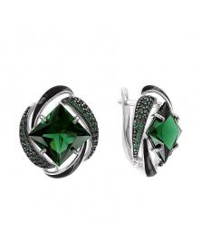 Ohrringe mit grün Sitall, schwarz Emaille und Zirkonia