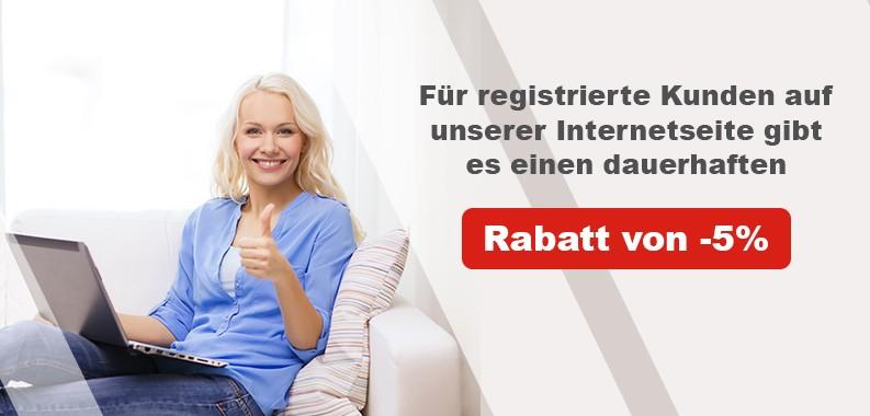 Permanenter Rabatt von -5% für registrierte Benutzer!